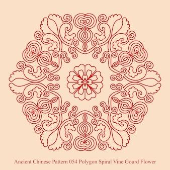 Altes chinesisches muster der polygon-spiral-weinreben-kürbisblume