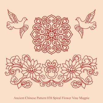 Altes chinesisches muster der spiralblumenrebe-elster