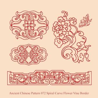 Altes chinesisches muster der spiralkurven-blumenrebengrenze