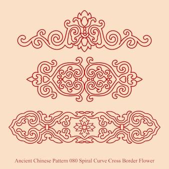 Altes chinesisches muster der spiralkurven-kreuzgrenzblume