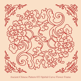 Altes chinesisches muster des spiral-kurven-blumenrahmens