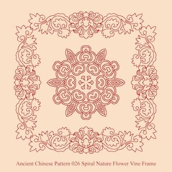 Altes chinesisches muster des spiralförmigen naturblumen-weinrebenrahmens