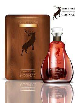 Altes cognac-verpackungsdesign. realistisches produkt mit markenzeichen. platz für texte