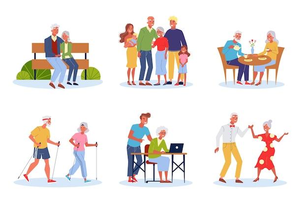 Altes ehepaar eingestellt. ältere menschen verbringen zeit miteinander