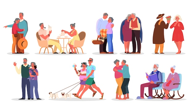Altes ehepaar eingestellt. ältere menschen verbringen zeit zusammen und mit der familie. frau und mann im ruhestand. glücklicher großvater und großmutter zu hause und draußen.