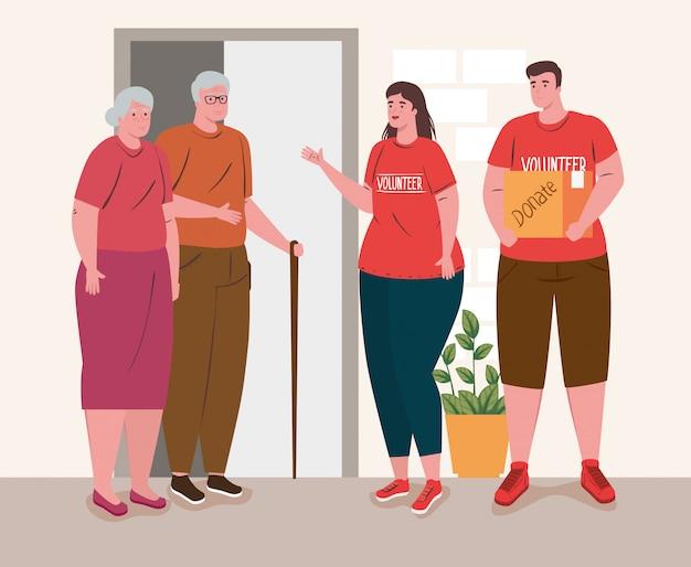 Altes ehepaar mit jungen freiwilligen, die spendenbox-, wohltätigkeits- und sozialspendenkonzept halten