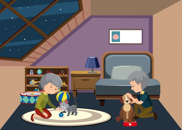 Altes ehepaar zu hause bleiben