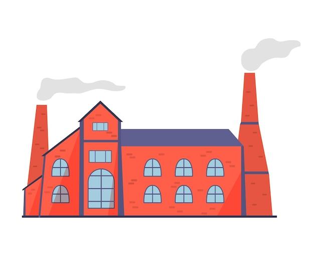 Altes fabrikgebäude mit rauchenden kaminen. verschmutzung der welt. gebäudefassade.