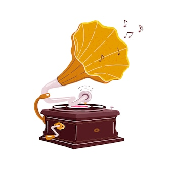 Altes grammophon lokalisiert auf einem weiß