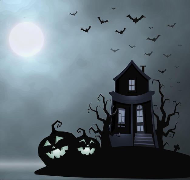 Altes haus des geistes, mysteriöser ort, halloween-vektorillustration. lächelnder kürbis, trockener baum, fledermausherde, vollmond, nebliger nachthimmel