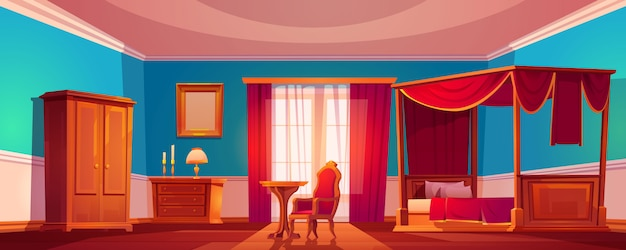 Altes luxuriöses schlafzimmerinterieur mit himmelbett