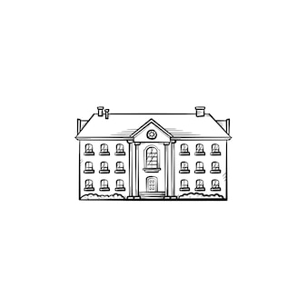 Altes mehrfamilienhaus handgezeichnetes umriss-doodle-symbol