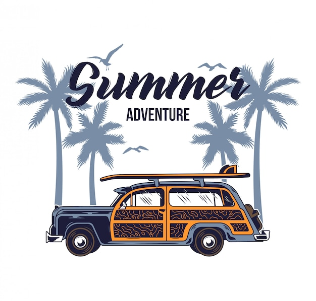 Altes oldtimer für das surfen im sommer beim reisen und leben an den paradiesischen stränden kaliforniens mit sonnenbrandung. camping lkw druck illustration