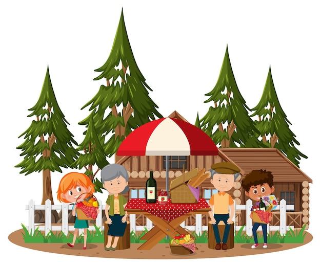 Altes paar, das picknick mit vielen kindern im park macht