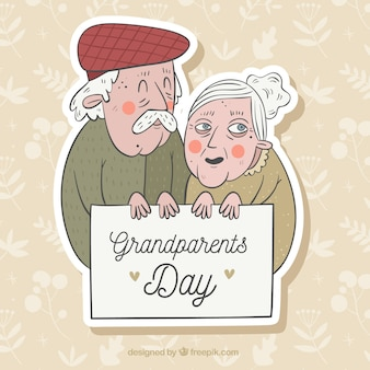 Altes paar feiert den großeltern tag