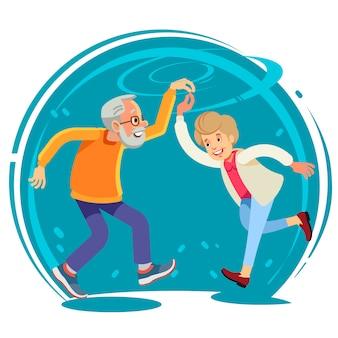 Altes paar tanzen zusammen