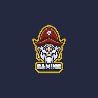 Altes piraten-logo-maskottchen