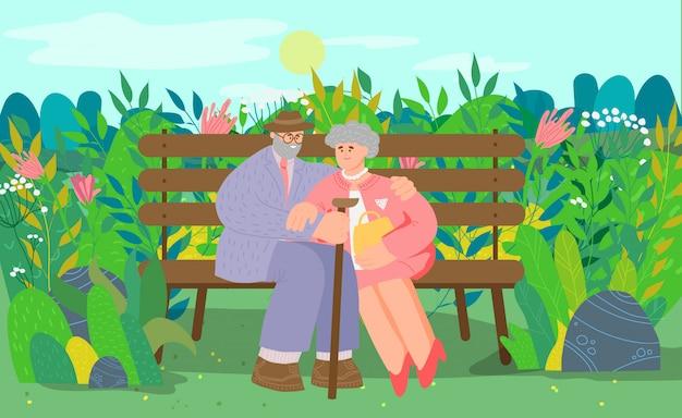 Altes reizendes paar, charakter gealterte weibliche und männliche leute, die auf bank sitzen, illustration. menschen im nationalpark, ort zum entspannen.