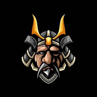 Altes samurai-maskottchen-design
