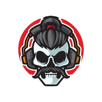 Altes schädel-musik-kopfhörer-logo