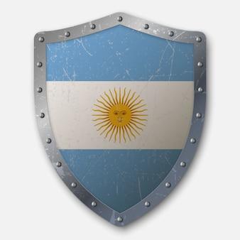 Altes schild mit flagge von argentinien