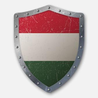 Altes schild mit flagge von ungarn