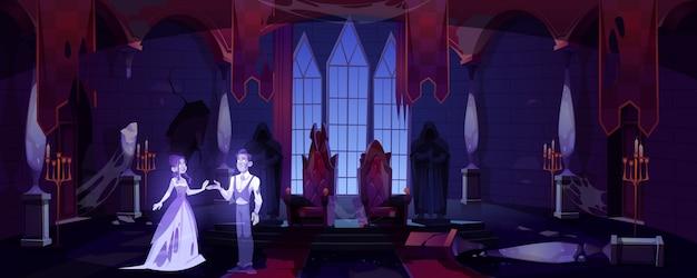 Altes schlosshalle mit dunklem unheimlichem palastraum der geister