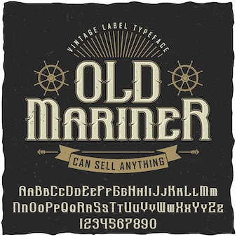 Altes seefahrer-weinleseplakat mit der inschrift kann alles illustration verkaufen