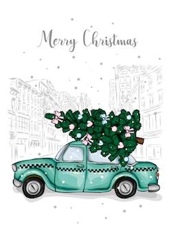 Altes taxi mit einem weihnachtsbaum auf dem dach. vektorillustration.