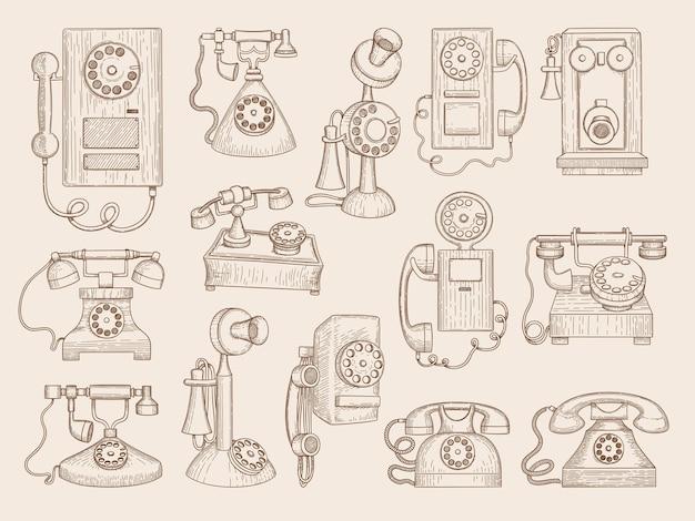 Altes telefon. sammlung von retro-gadgets-kommunikationstelefonen.