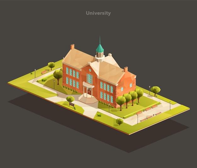Altes universitätsgebäude mit parkfläche