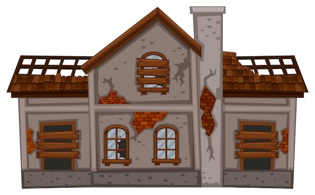 Altes ziegelsteinhaus in schlechtem zustand