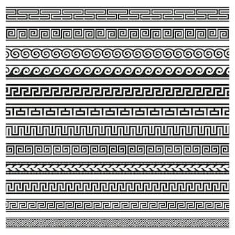 Altgriechische grenzen. griechische römische mäander und welle dekorative nahtlose muster illustration gesetzt