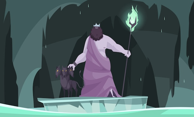 Altgriechischer unterweltgottkönig von totem hades flache karikaturzusammensetzung mit drei ging hund voran