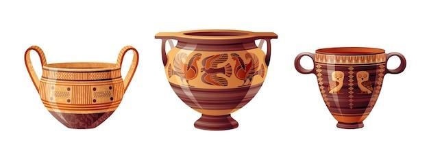 Altgriechisches vasen-set. keramikvektor. antiker krug aus griechenland. alte tonamphore, topf, urne, glas