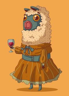 Altmodisch gekleidete manierierte alpaka-dame mit einem glas wein, die einen toast auf das abendessen mit freunden ausspricht?