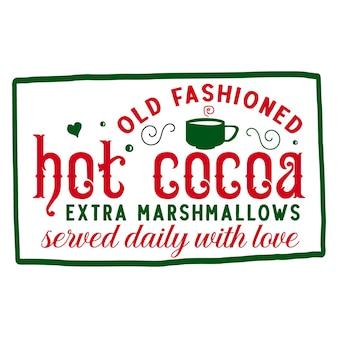 Altmodische heiße kakao-extra-marshmallows, die täglich mit liebesbeschriftung serviert werden premium-vektor-design