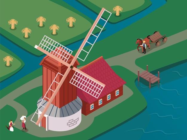 Altmodische windmühle mit sich drehenden segeln