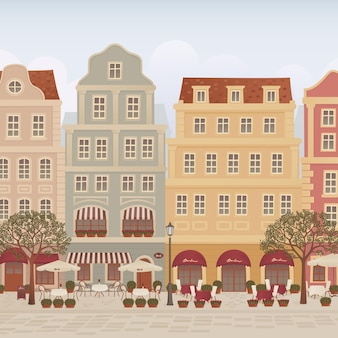 Altstadtstraße mit cafés und restaurants