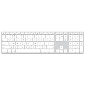 Aluminium-computertastatur des flachen designs des vektors lange normallacke
