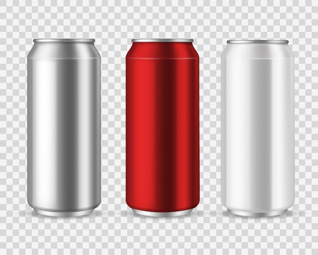 Aluminiumdosen. leere metalldosengetränke, getränkewasser soda bier limonade energy drink, silbernes leeres glas-set