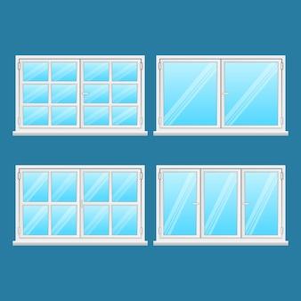 Aluminiumfenster eingestellt auf blauem hintergrund. hochwertige fenster aus edelstahl. moderne rahmentypen. fenster außengebrauch. haus- und bürofenster. fenster. illustration
