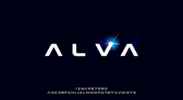 Alva, eine kühne und futuristische schrift, modernes scifi-schriftdesign. alphabet