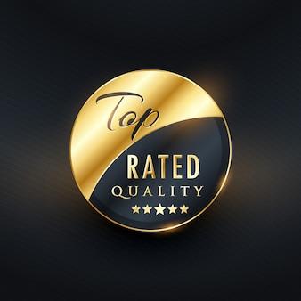 Am besten bewerteten qualitätsprämie golden label-design