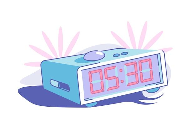 Am frühen morgen aufwachen vektor-illustration. alarm auf halb fünf im flachen stil eingestellt. klingelnde uhr. rote zahlen auf dem bildschirm. countdown-zeit-konzept