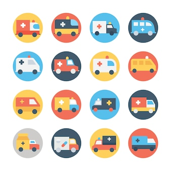 Ambulance circular color icon set