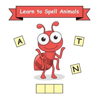 Ameise lernen, tiere zu buchstabieren