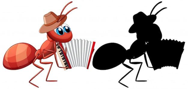 Ameise mit akkordeon cartoon