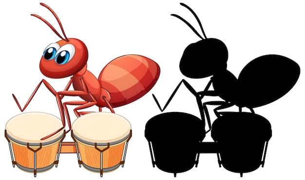 Ameise spielt trommel und ihre silhouette