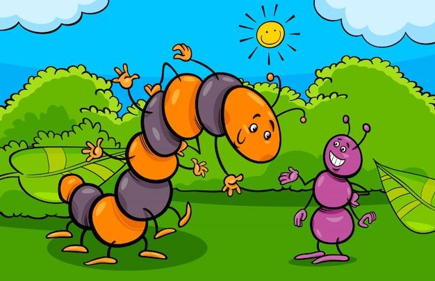 Ameise und raupe insekt comic-figuren